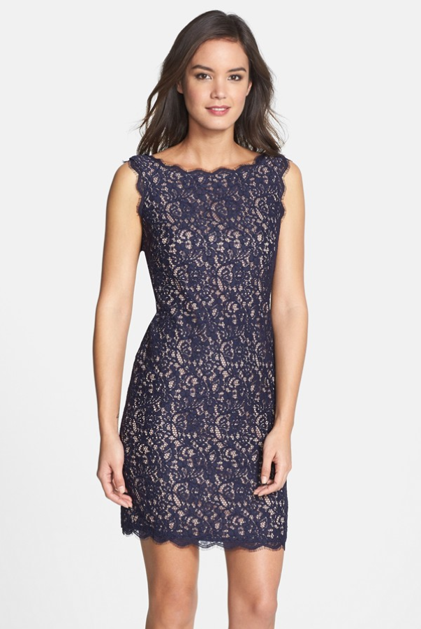 Adrianna Papell Boatneck Lace Sheath Navy Nude Dress