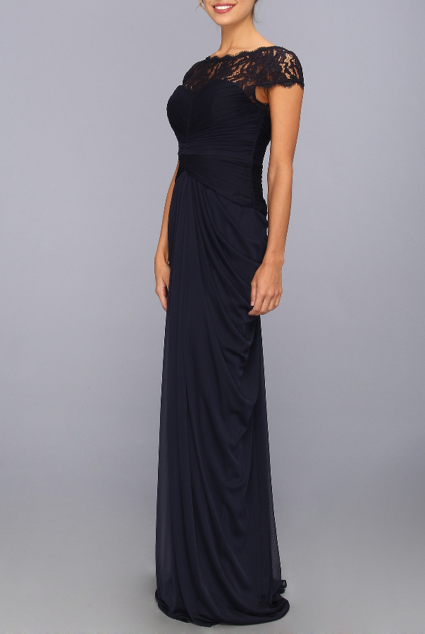 Adrianna Papell Lace Bodice Draped Gown   Poshare