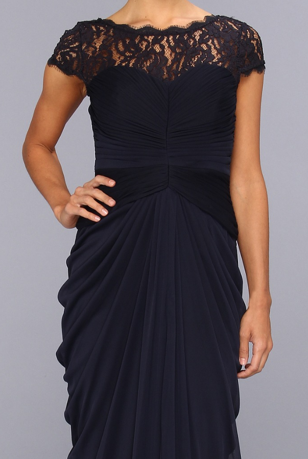 Adrianna Papell Lace Bodice Draped Gown | Poshare
