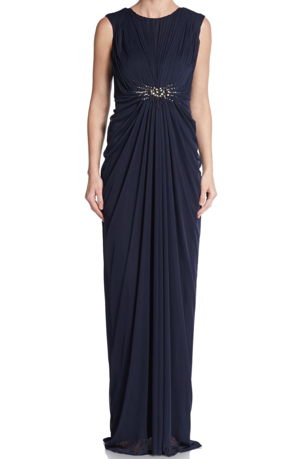 Adrianna Papell Blue Empire V-Back Gown Ink Navy Blue