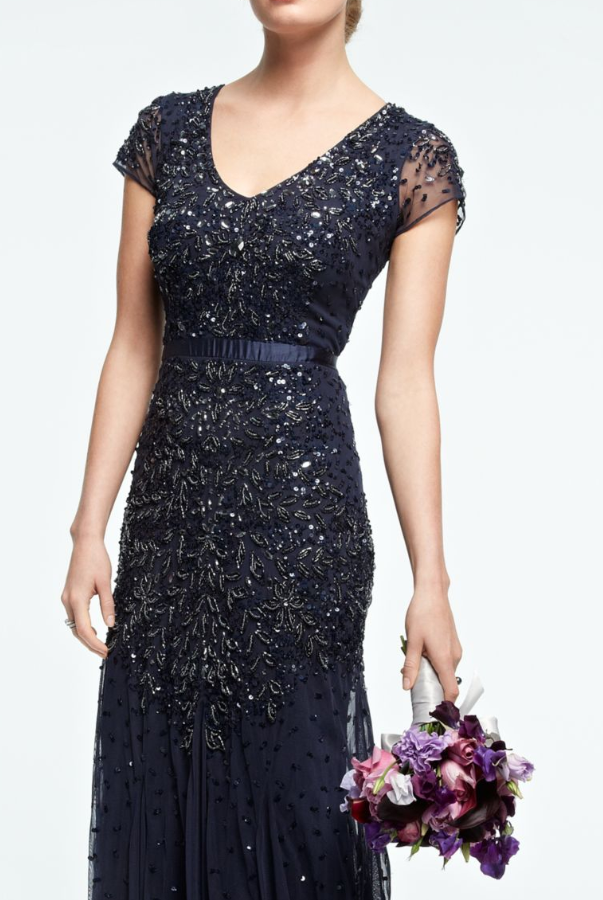 Adrianna Papell Blue Cap-Sleeve Embellished Gown