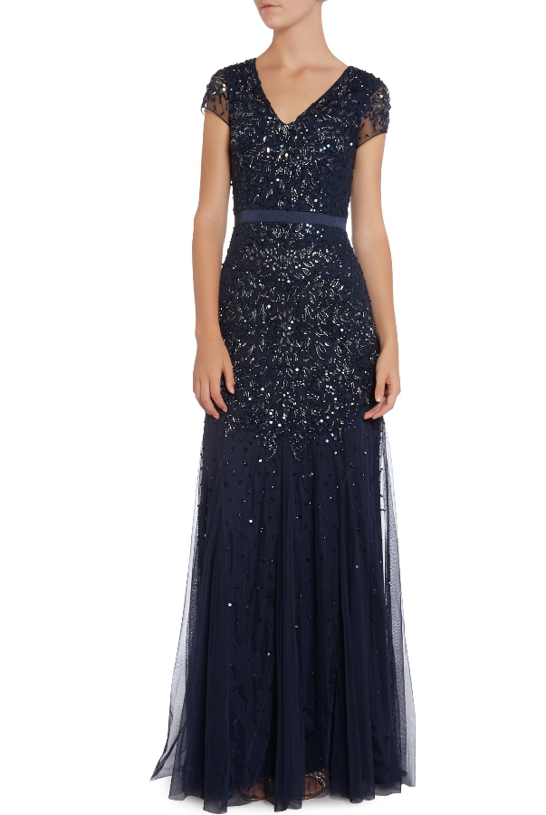 Adrianna Papell Blue Long Beaded V Neck Gown