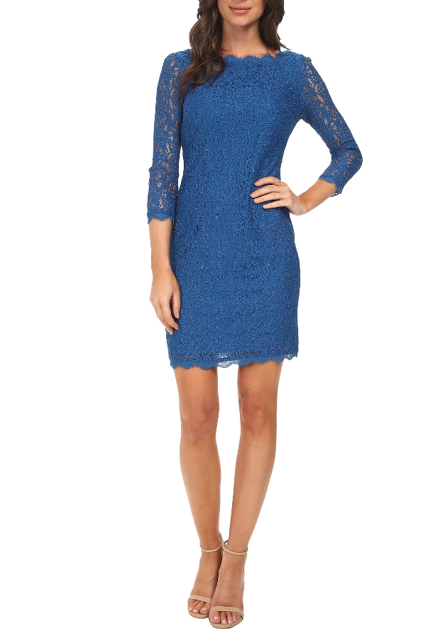 Adrianna Papell Long Sleeve Lace Sheath Cocktail Dress in Pale Blue