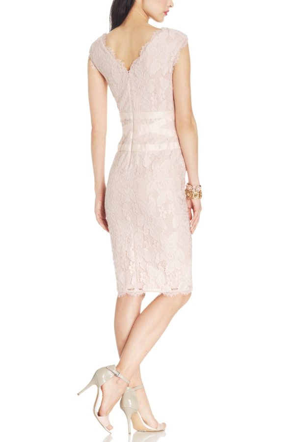 Adrianna Papell Beige Cap-Sleeve Scalloped Lace Sheath