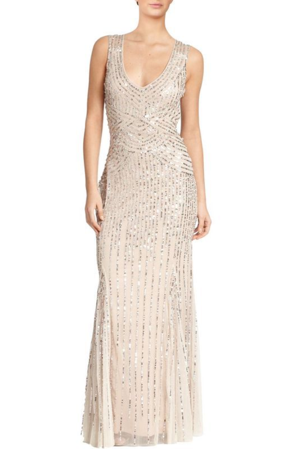 Aidan Mattox Daisy Embellished Art-Deco Evening Gown Champagne color ...