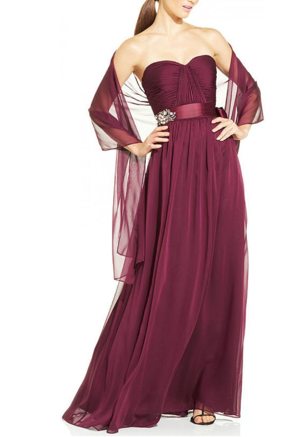 Adrianna Papell Pleated Empire Waist Gown in Burgundy | Poshare