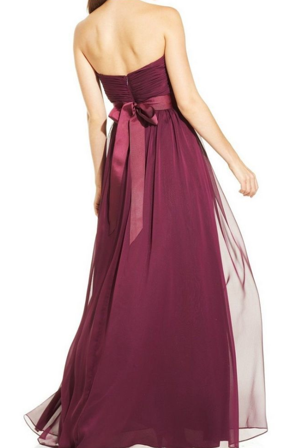 Adrianna Papell Pleated Empire Waist Gown in Burgundy