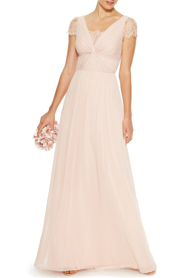 Adrianna Papell Blush Lace Twist-Front Gown