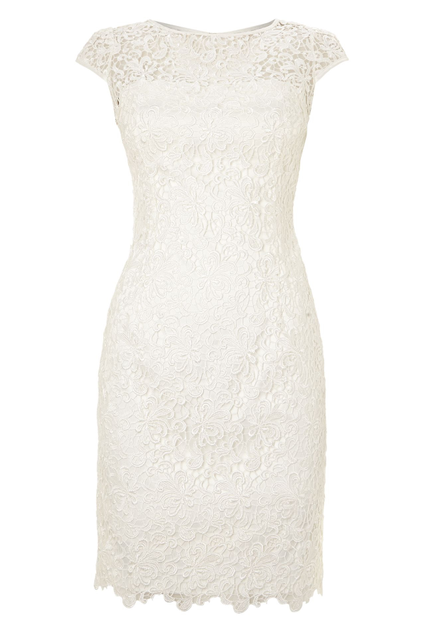 Adrianna Papell White Cap-Sleeve Illusion Lace Sheath