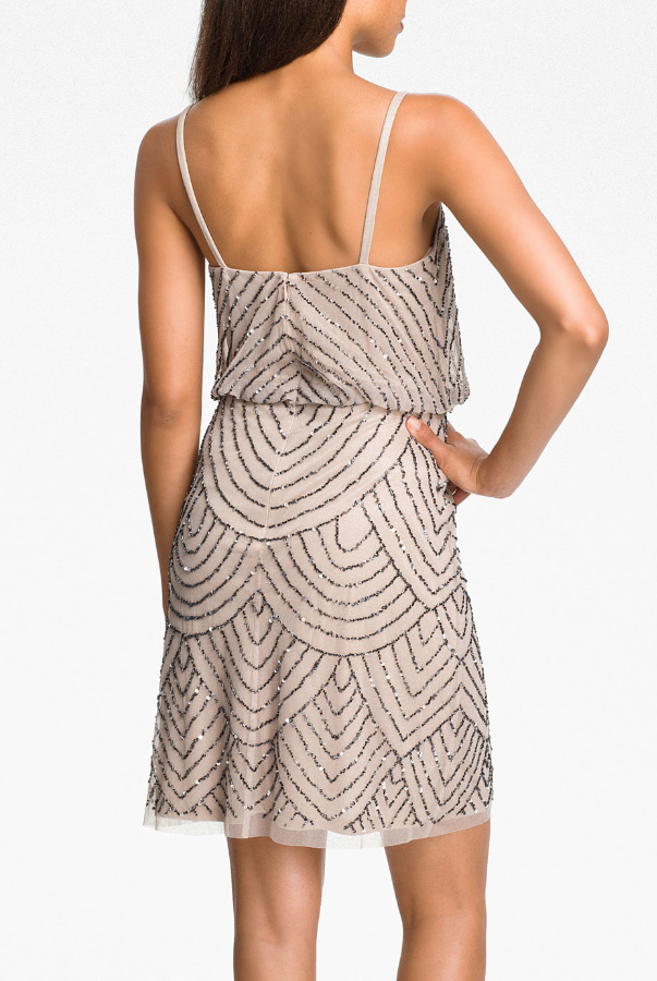 Adrianna Papell Sequined Mesh Blouson Dress Taupe Pink