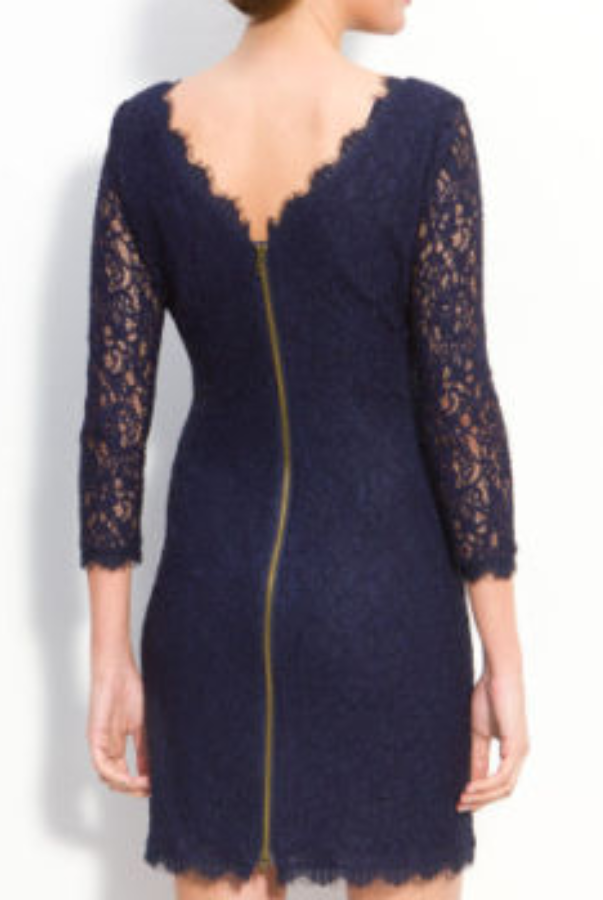 Adrianna Papell Long Sleeve Lace Sheath in Navy
