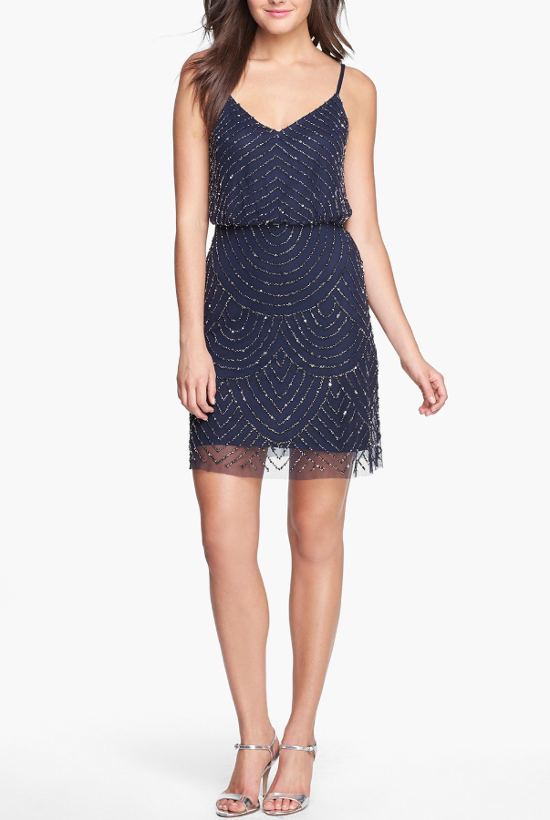 Adrianna Papell Sequin Mesh Blouson Dress Beaded Art Deco in Navy