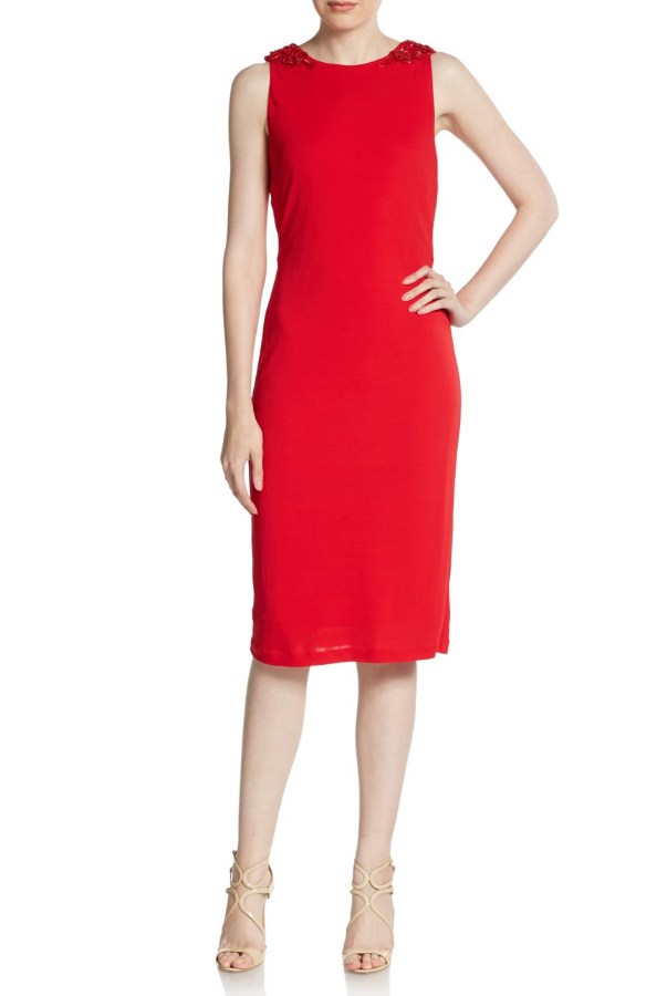Badgley Mischka Beaded-Shoulder Knot-Back Dress in Red