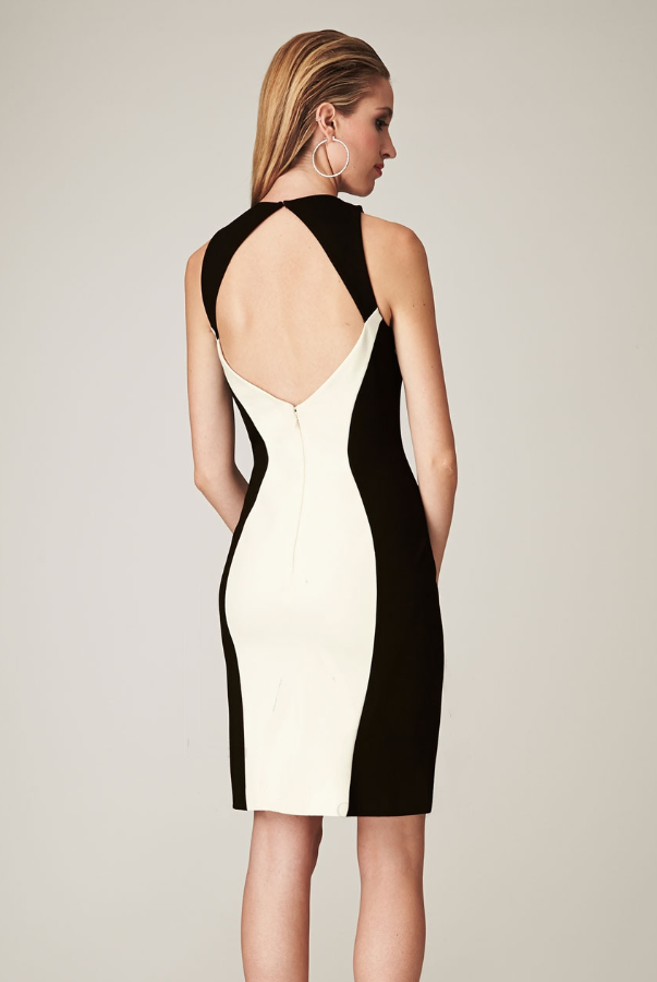 Mignon White and Black Two Tone Open Back Colorblock CC316B