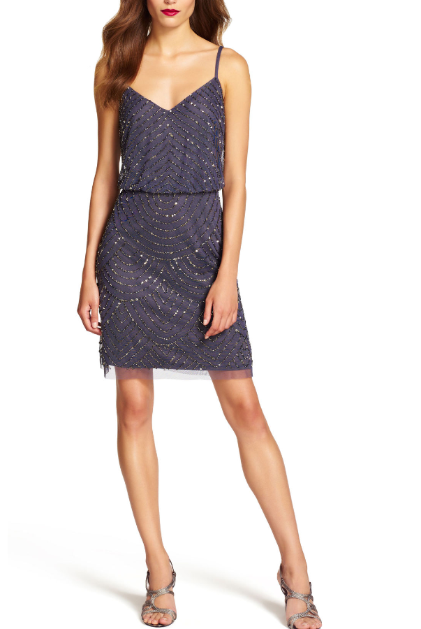 Adrianna Papell Gunmetal Sequin Mesh Blouson Dress