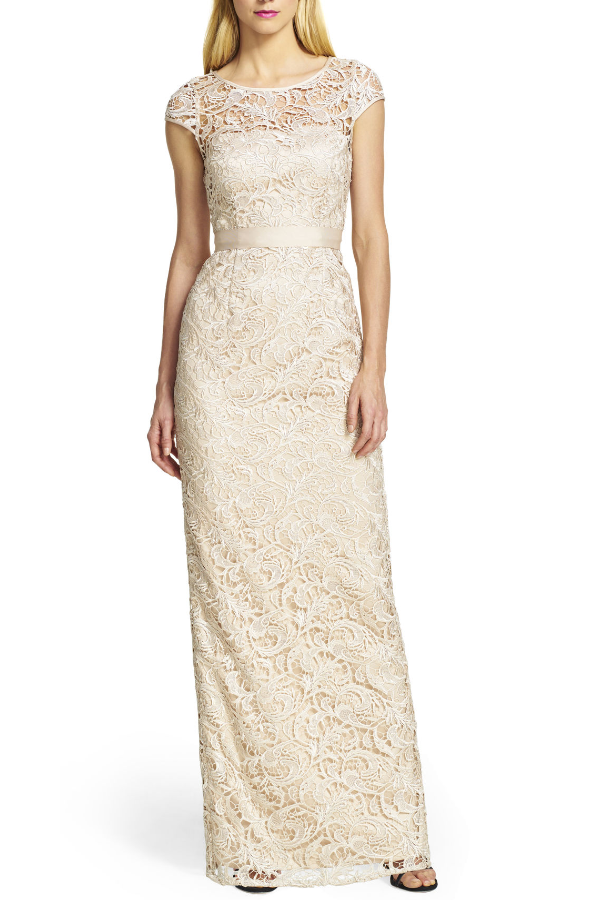 Adrianna Papell Beautiful Cap Sleeve Lace Gown in Nude
