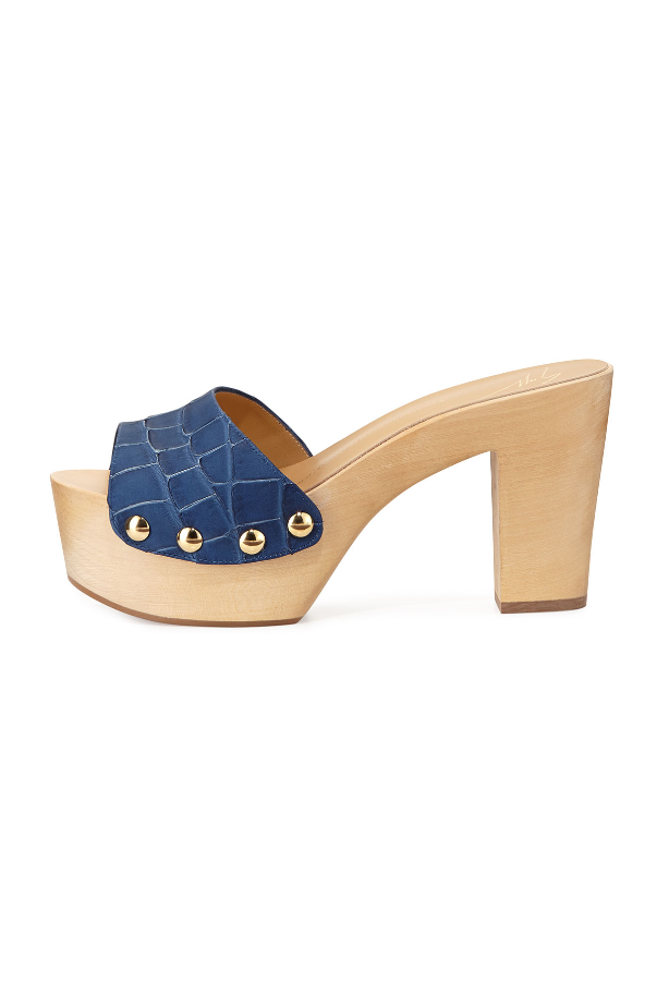 Giuseppe Zanotti Blue Croc-Embossed Leather Clog Sandals