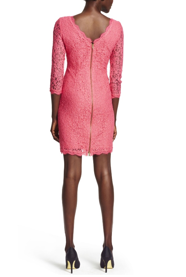 Adrianna Papell Long Sleeve Lace Sheath Dress in Pink