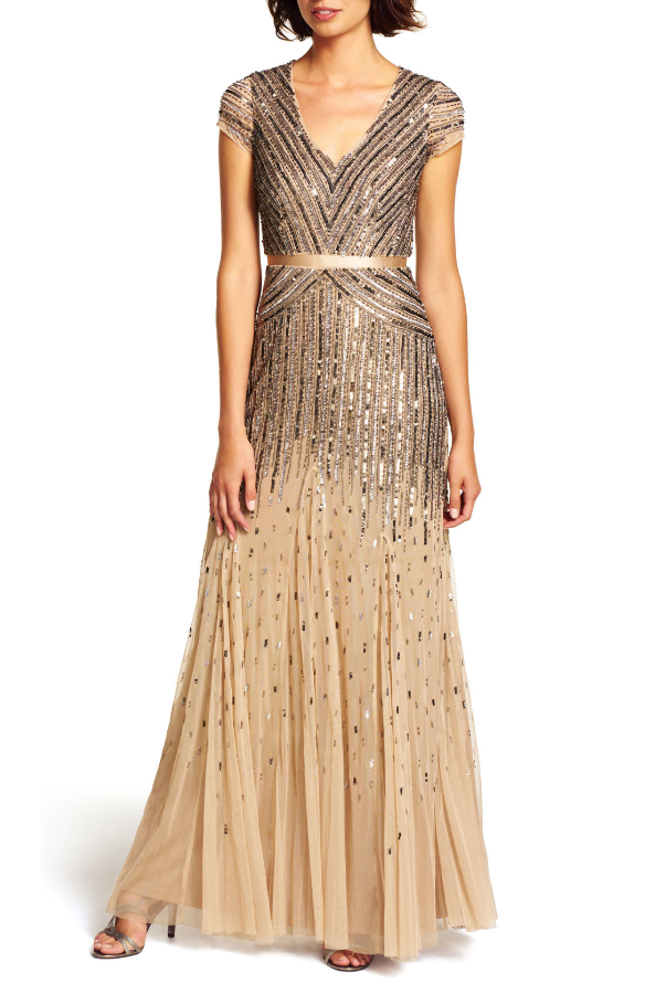 Adrianna Papell  Mesh Cap Sleeve Beaded V-Neck Gown  Nude