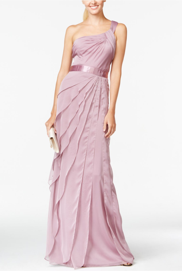 Adrianna Papell Pink One Shoulder Tiered Chiffon Gown Dress Blush