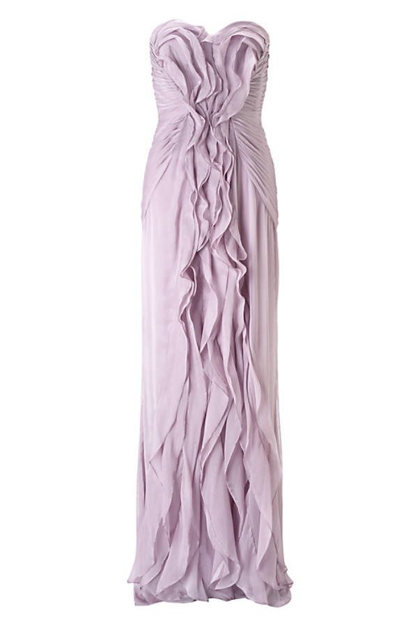 Adrianna Papell Ruffled Chiffon Dress in Dusty Orchid