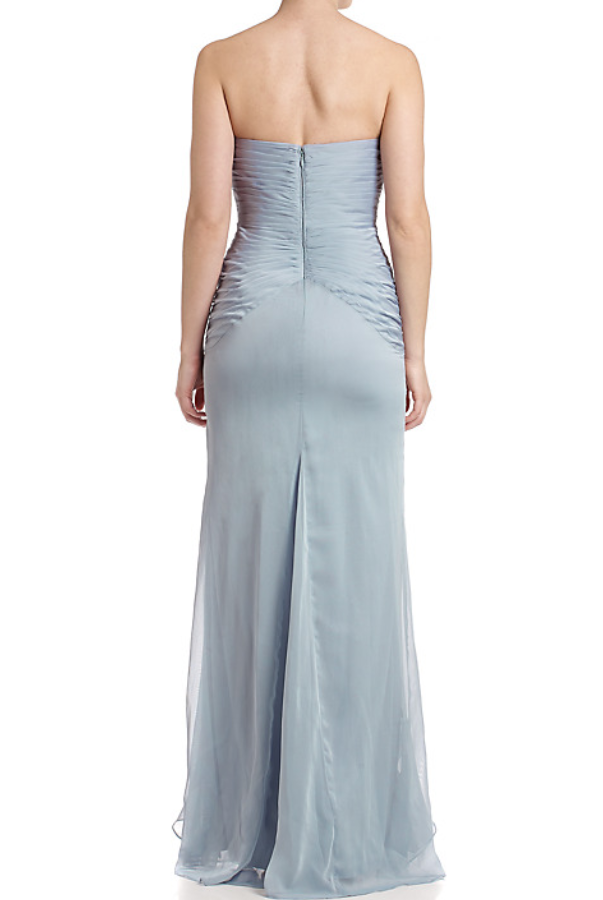 Adrianna Papell Front Ruffle Gown Slate Bridesmaid Dress