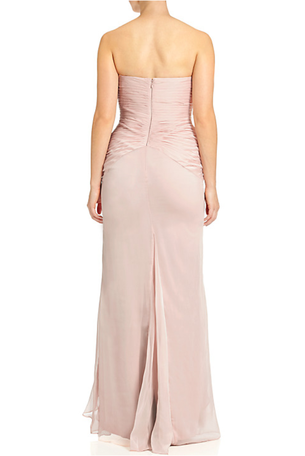 Adrianna Papell Ruffled Chiffon Dress Blush Pink Gown
