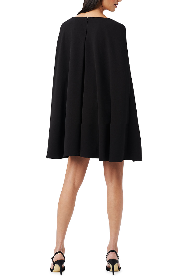 Adrianna Papell Structured Cape Sheath Cocktail Dress in Black