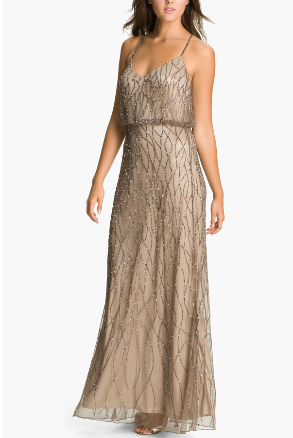 Adrianna Papell Beaded Mesh Blouson Gown Beige art-Deco Style