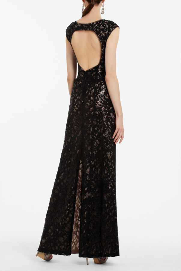 BCBG Cain Sequin Applique Evening Dress