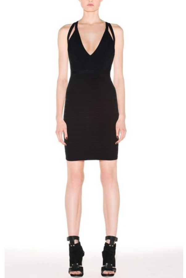 Herve Leger Black Dema Bandage Dress