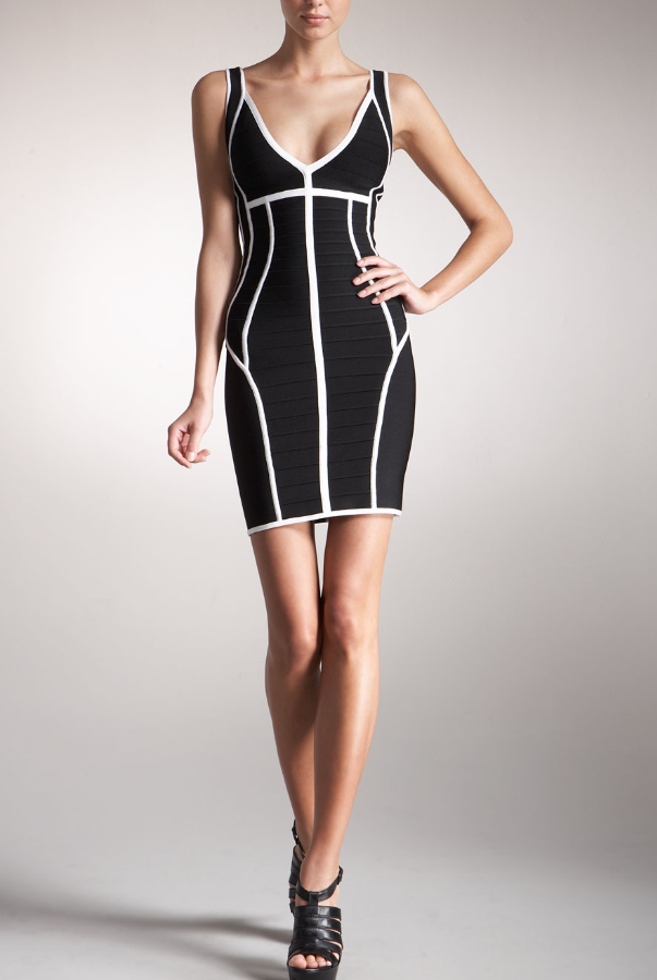 Herve Leger Contrast-Trim Bandage Dress