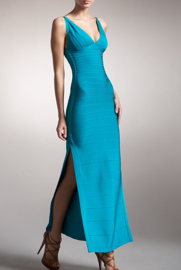 Herve Leger Bright Blue Long Bandage in Cyan Seafoam color