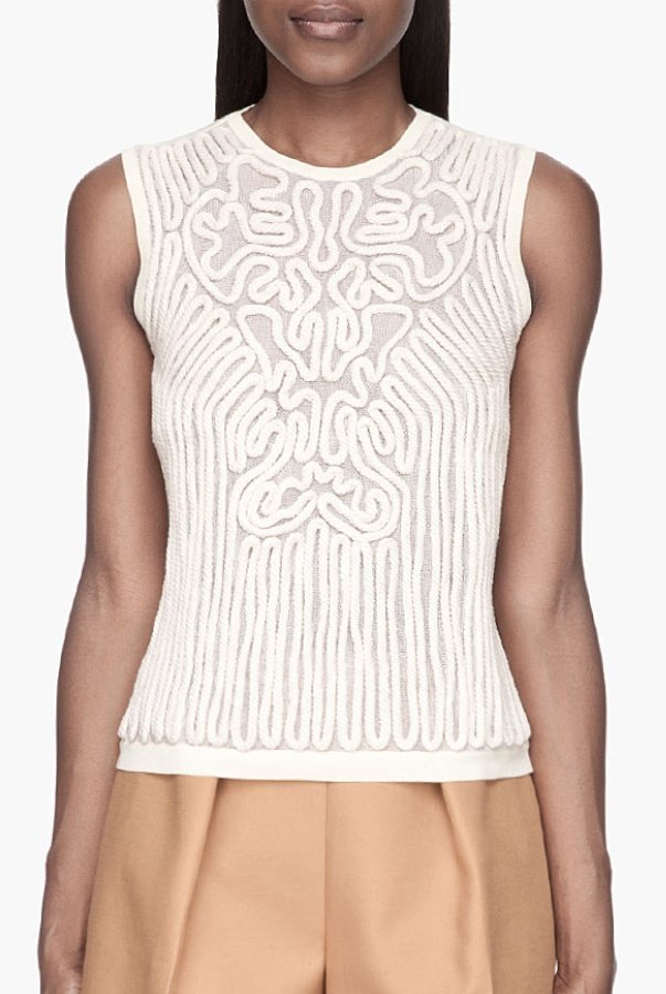 Carven White Cream Knit Rope Tank Top