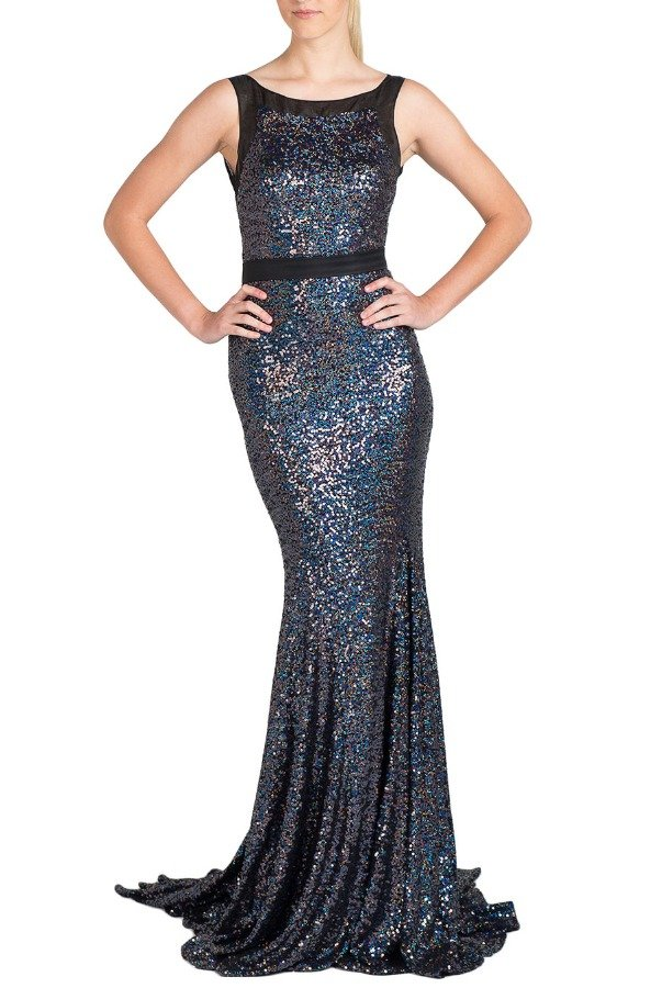 Badgley Mischka EG1148 Sequin beaded gown sapphire blue navy