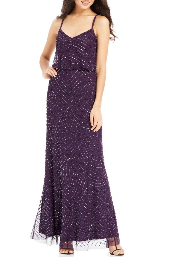 Adrianna Papell Amethyst Beaded Art Deco Blouson Gown Dress