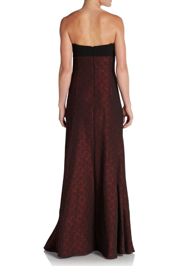 David Meister Black Strapless Crepe and Jacquard Gown