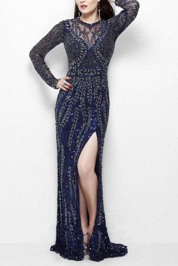 Primavera Couture Long-Sleeved Embellished Evening Gown