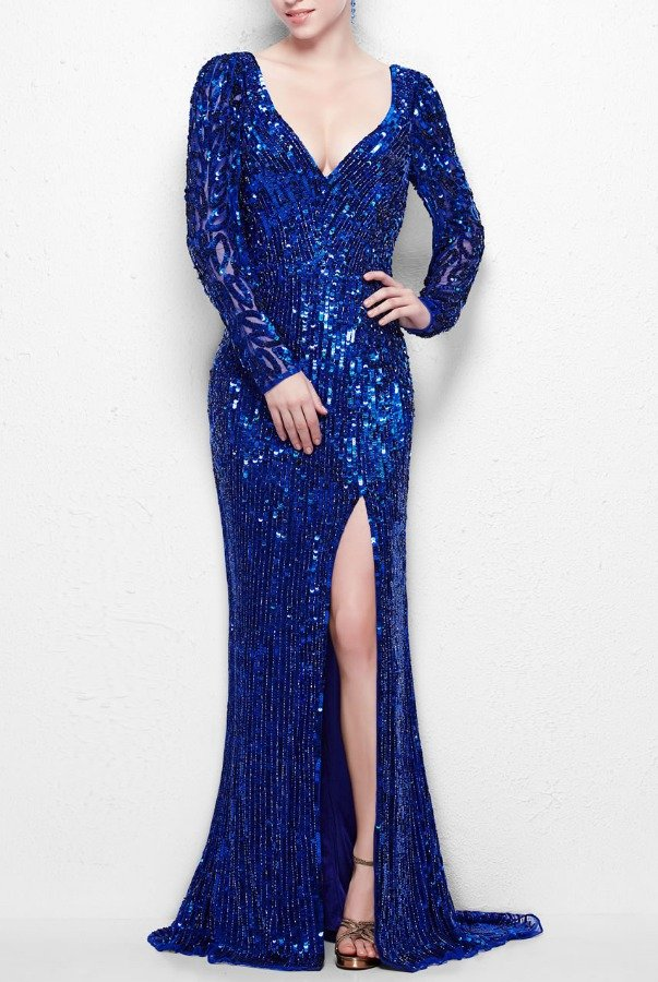 Primavera Couture Luminous long-sleeved gown with sheer accents