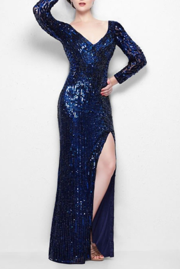 Primavera Couture Luminous long-sleeved gown with sheer accents navy