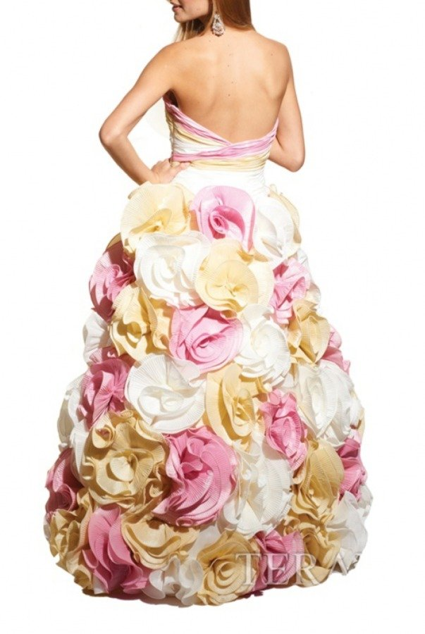 Terani Couture Strapless Multi-Color Gown With Layered Flowers