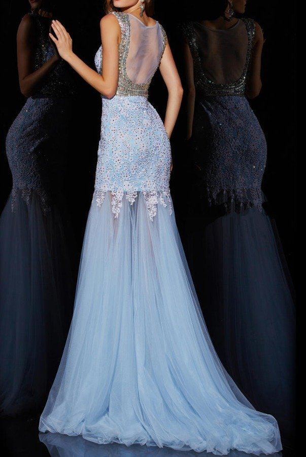 Angela and Alison Baby blue empire waist adorned gown