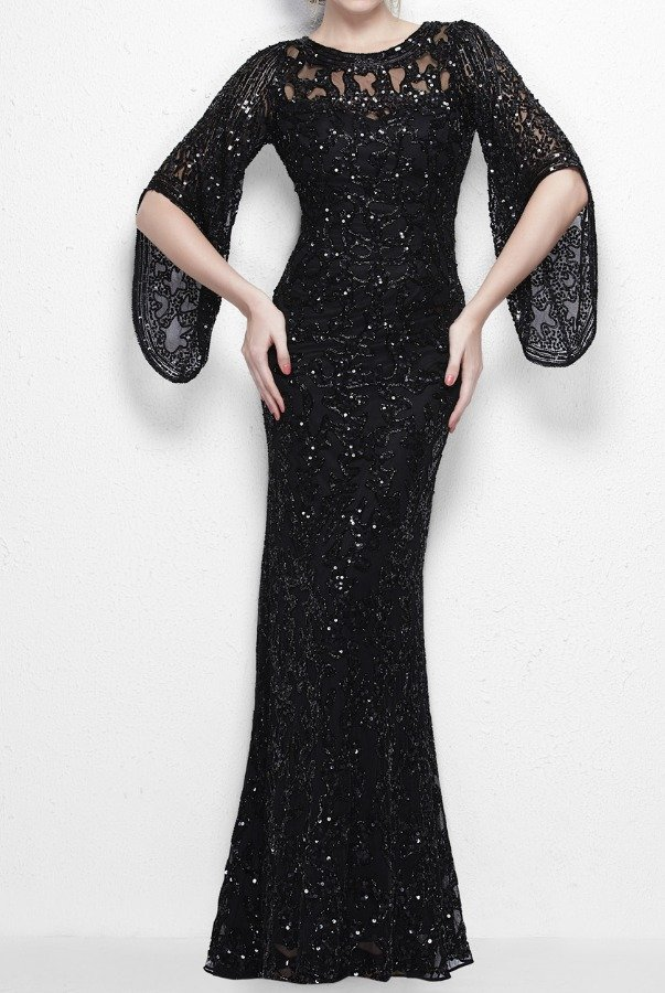 Primavera Couture Divinely designed gown with sheer layering in black