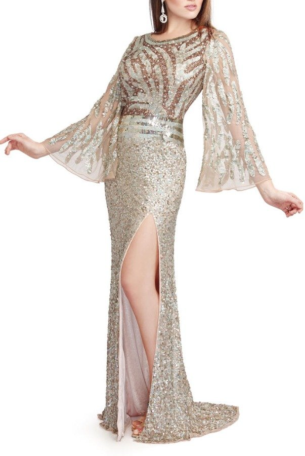 Primavera Couture Bellissima bell-sleeved formal with sequin sheen 9698