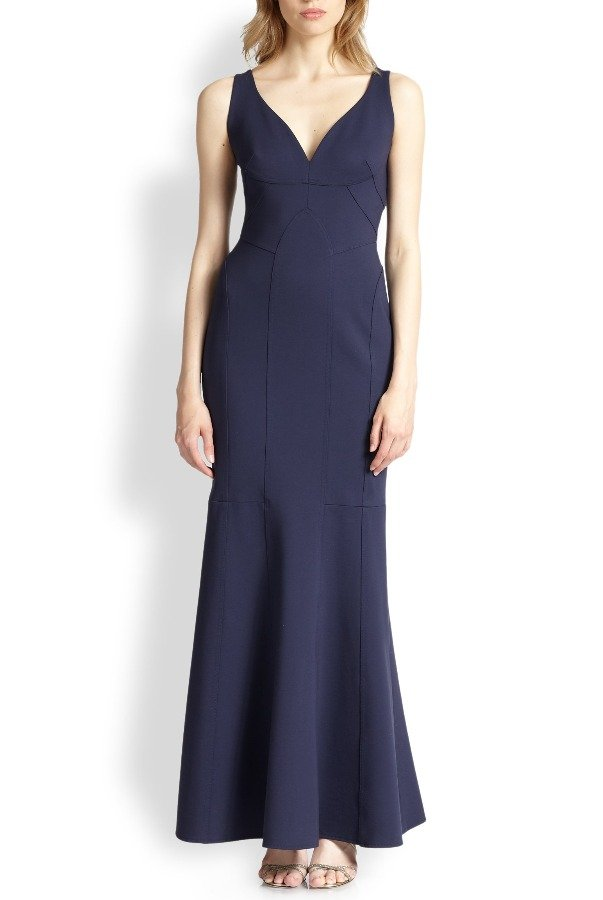 David Meister SEAMED V-NECK NAVY GOWN