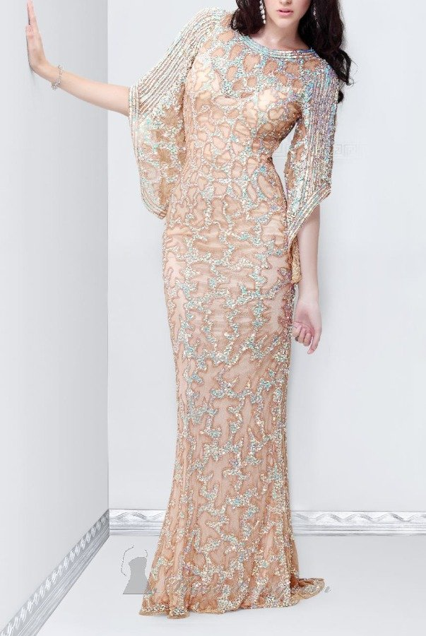 Primavera Couture Long sleeve beaded gown in nude mother of bride