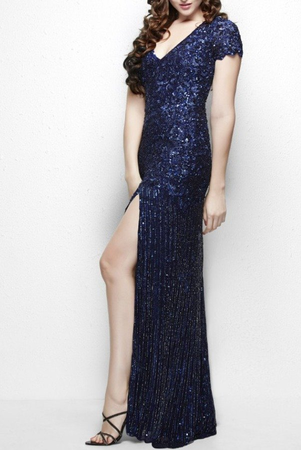 Primavera Couture Sequin shimmering evening gown in navy blue 9928