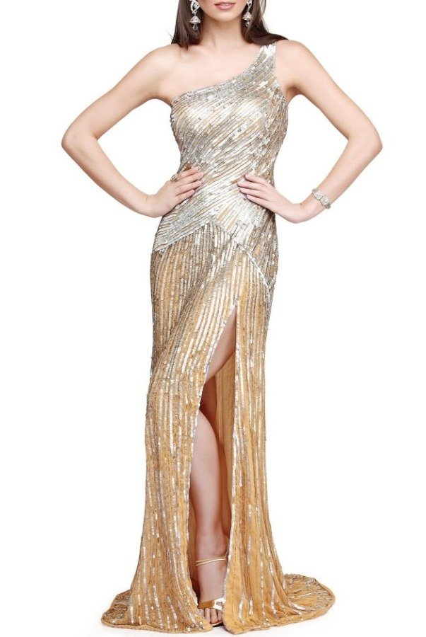 Primavera Couture Asymmetrical gown in champagne and silver