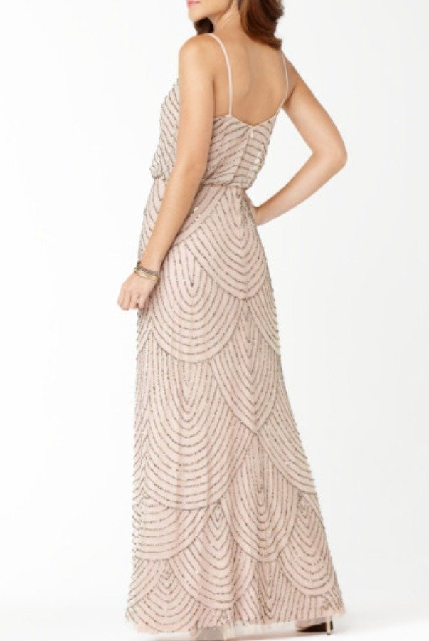 Adrianna Papell Blush Art Deco Embellished Blouson Gown