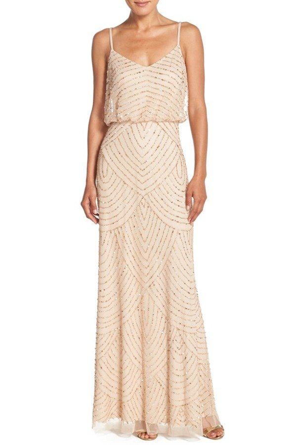 Adrianna Papell Art Deco Beaded Blouson Gown in Champagne Gold | Poshare